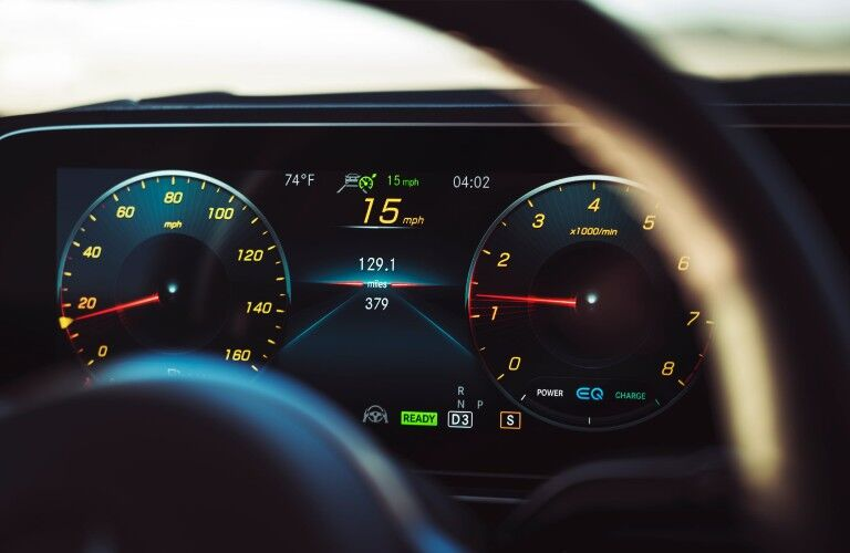 A photo of the digital gauge cluster in the 2021 Mercedes-Benz GLE SUV.