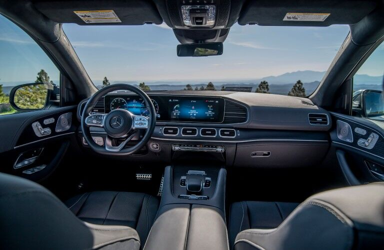 A photo of the dashboard in the 2021 Mercedes-Benz GLS 580 SUV.