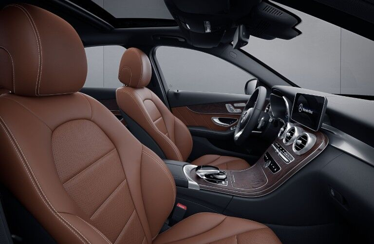 A photo of the front seats in the 2021 Mercedes-Benz C 300 Sedan.