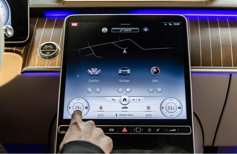 A photo of the infotainment touchscreen used by the 2021 Mercedes-Benz S 500 4MATIC® Sedan.