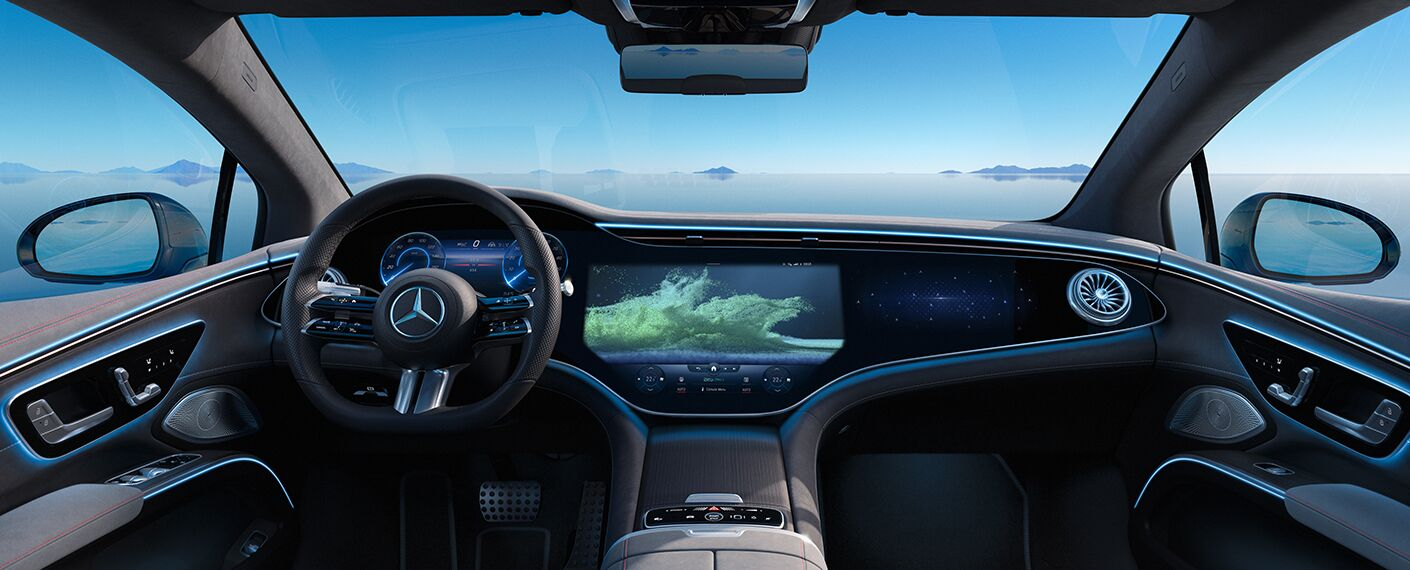 A photo of the hyperscreen used in the coming 2022 Mercedes-Benz EQS.