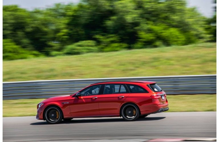 2019 Mercedes-Benz E 450 4MATIC® Wagon on the road