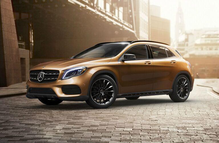 tan 2018 Mercedes-Benz GLA parked on brick road