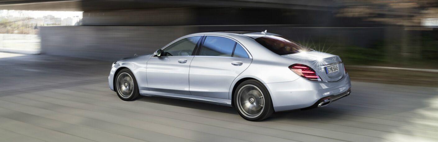 Silver 2018 Mercedes-Benz S-Class Sedan driving under bridge