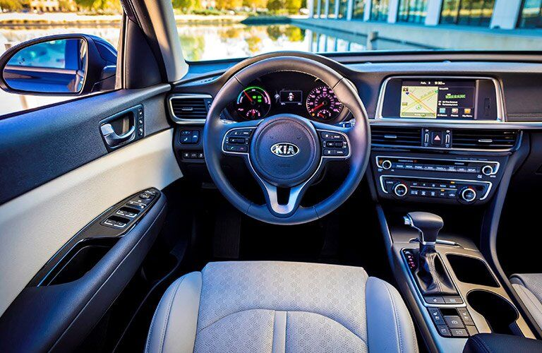 2017 Kia Optima Hybrid steering wheel and dash