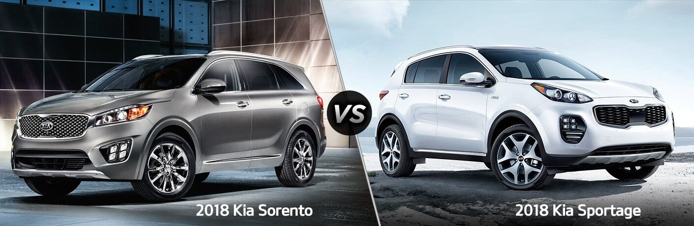 Silver 2018 Kia Sorento and white 2018 Kia Sportage side by side