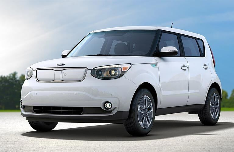 Front view of a white 2018 Kia Soul EV