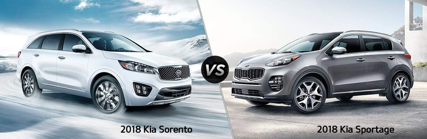 2018 Kia Sorento and 2018 Kia Sportage side by side