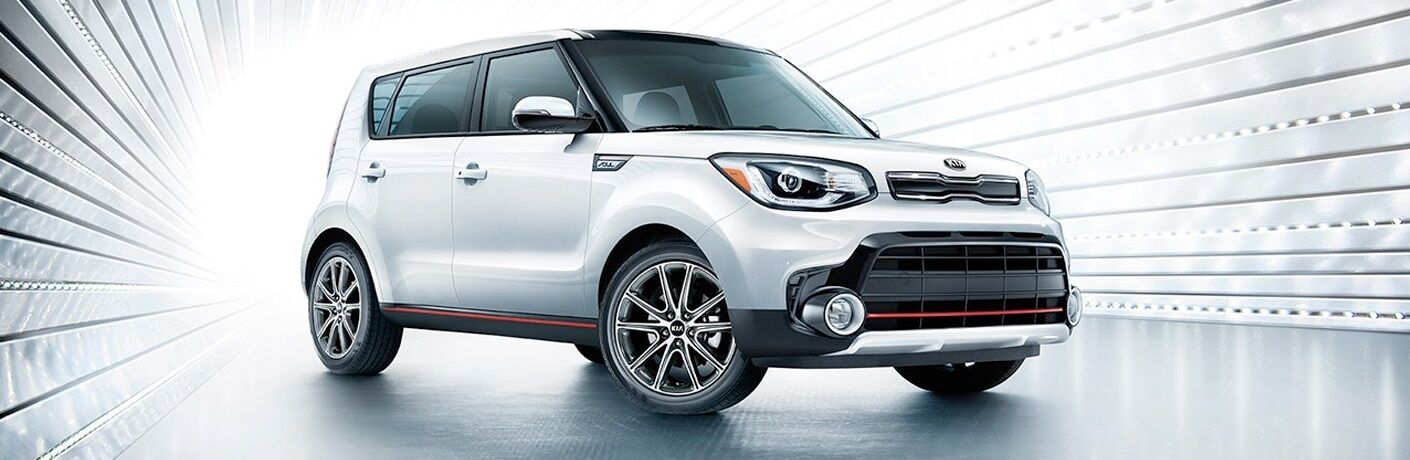 White 2019 Kia Soul on white background