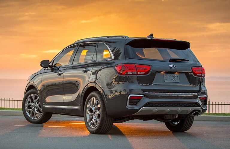 Rear side view of a black 2019 Kia Sorento