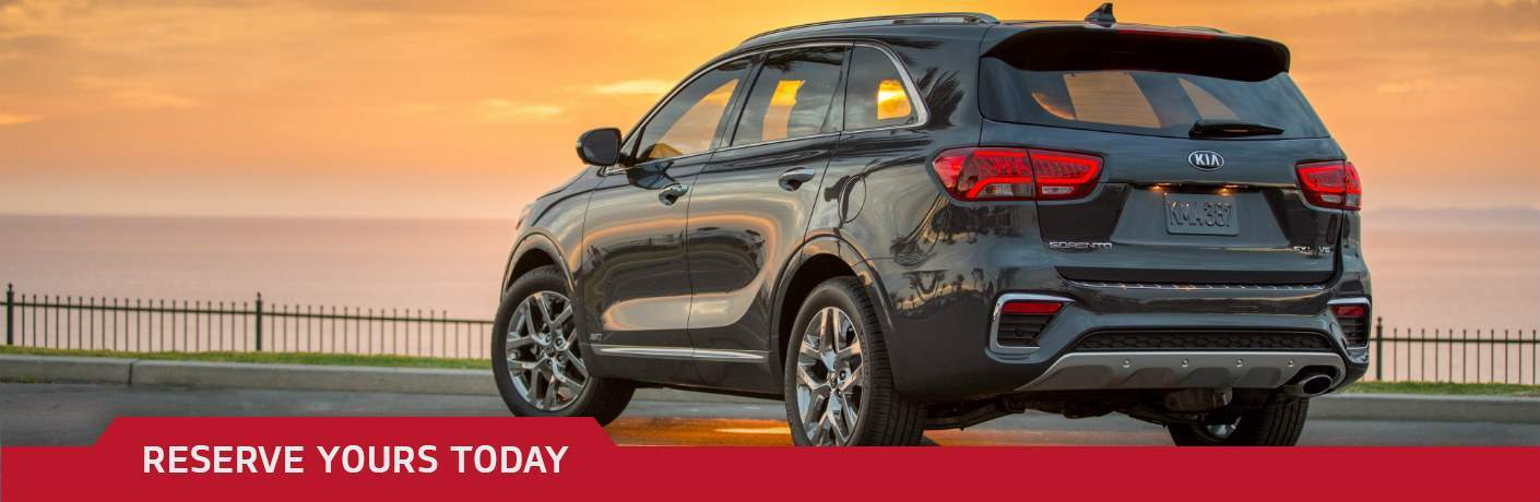 Grey 2019 Kia Sorento overlooking sunset with Reserve Yours Today text