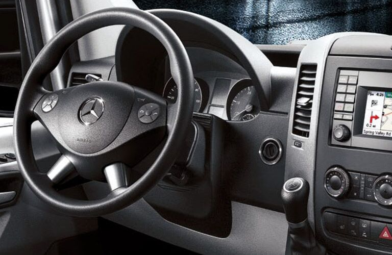 Steering wheel and instrumentation view of the 2016 Mercedes-Benz Sprinter
