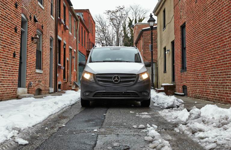 front view of the 2016 Mercedes-Benz Metris Cargo Van in an alley