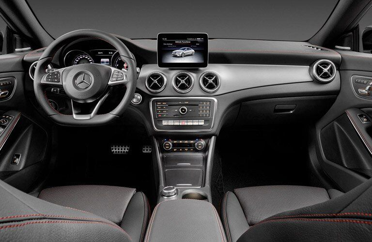 dashboard and steering wheel of the 2017 Mercedes-Benz CLA