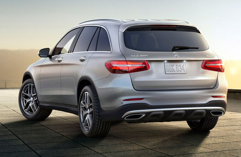 rear view of the 2017 Mercedes-Benz GLC against the sunset