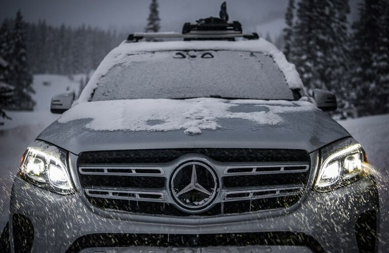 Grille view of the 2017 Mercedes-Benz GLS in the snow