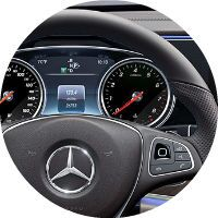 Steering wheel controls for the infotainment system on the 2017 Mercedes-Benz E-Class