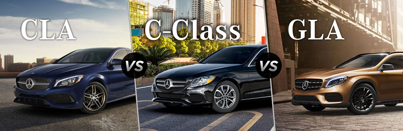 front half of the 2018 2018 Mercedes-Benz CLA, C-Class, and GLA