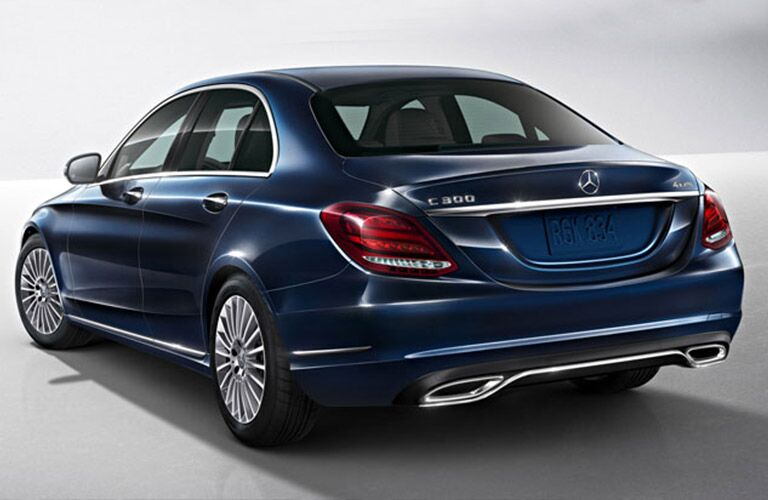 rear and side view of a blue 2018 Mercedes-Benz C 300