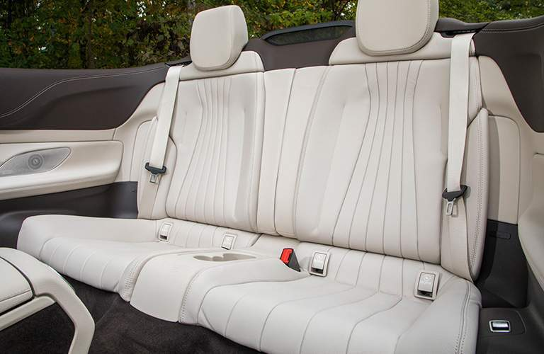 white rear seats of the 2018 Mercedes-Benz E-Class Cabriolet with the top down