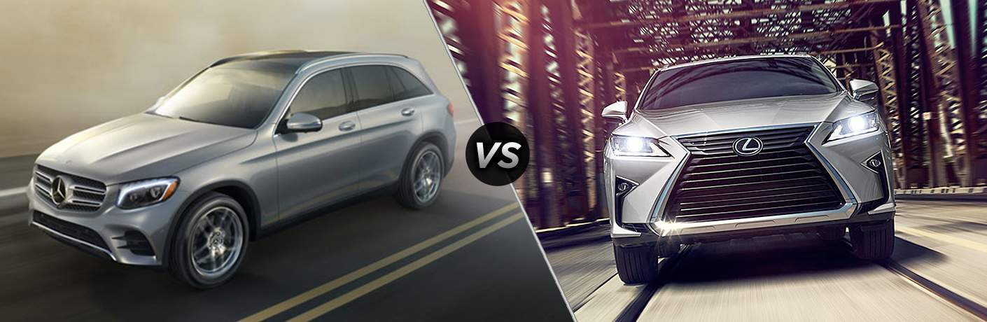 side by side images of a grey 2018 Mercedes-Benz GLC and a 2018 Lexus RX on a bridge