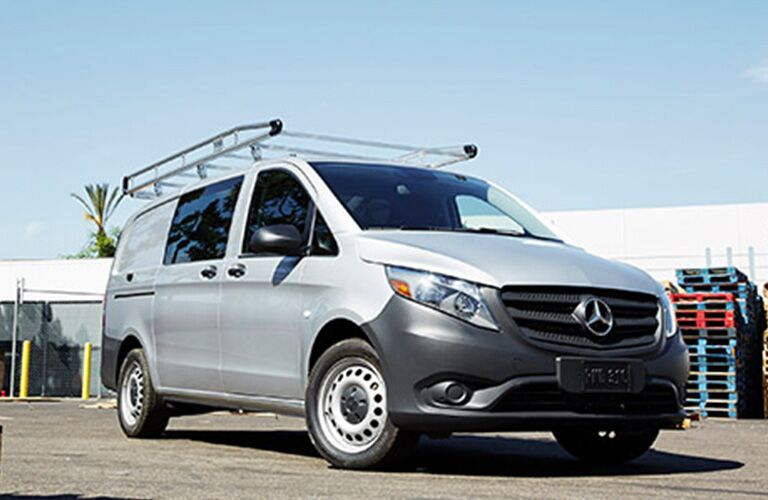 front and size view of the 2018 Mercedes-Benz Metris with roof rails