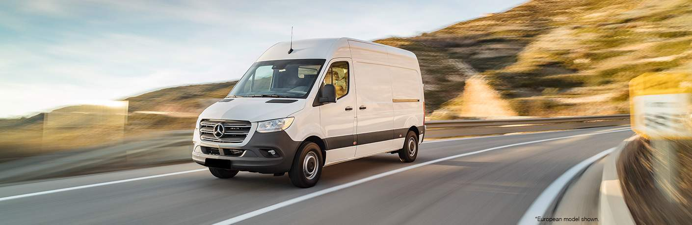 2018 or 2019 Mercedes-Benz Sprinter driving on a curvy road