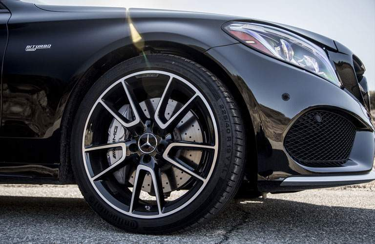 wheel close-up of the 2018 Mercedes-Benz C-Class with special five spoke wheels