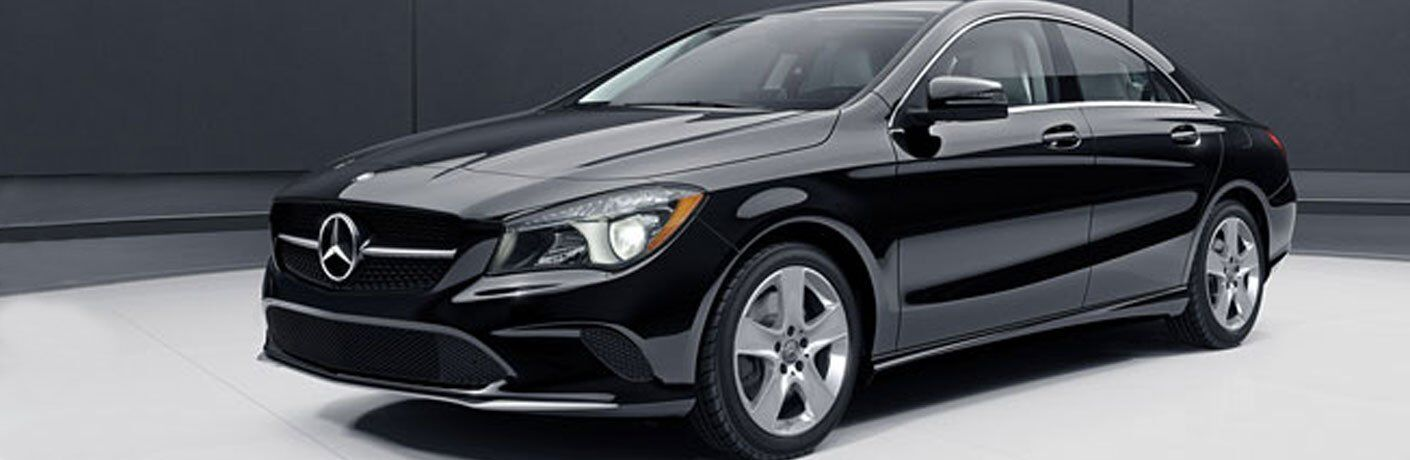 side view of a black 2018 Mercedes-Benz CLA