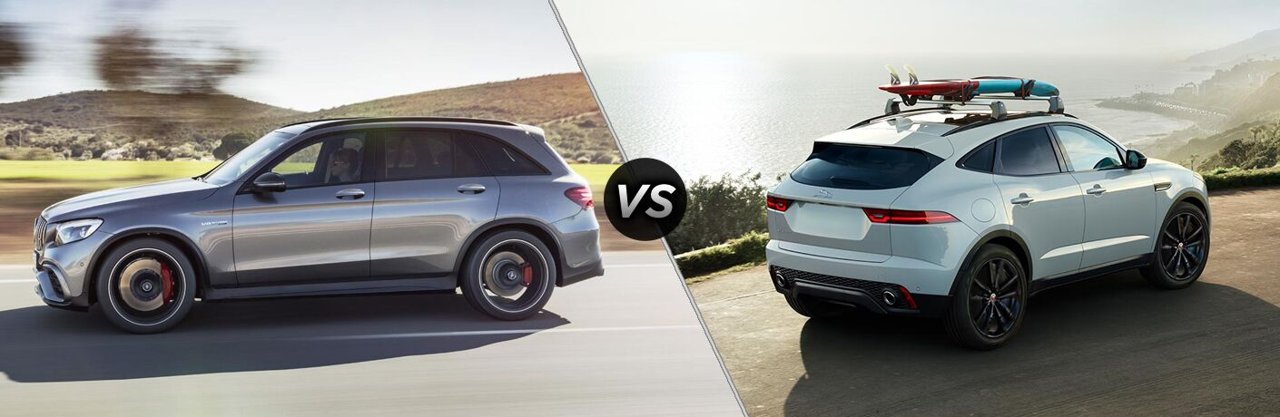 2018 Mercedes-Benz GLC and 2018 Jaguar E-PACE side by side in a comparison image