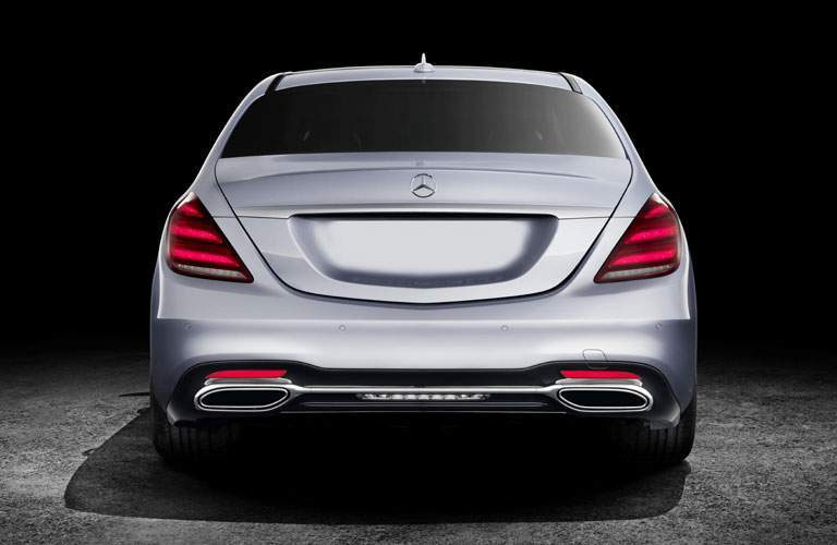 rear view of the 2018 Mercedes-Benz S-Class on a black background