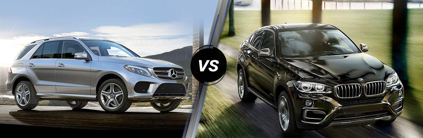side by side images of the 2018 Mercedes-Benz GLE SUV and the 2018 BMW X6 coupe crossover