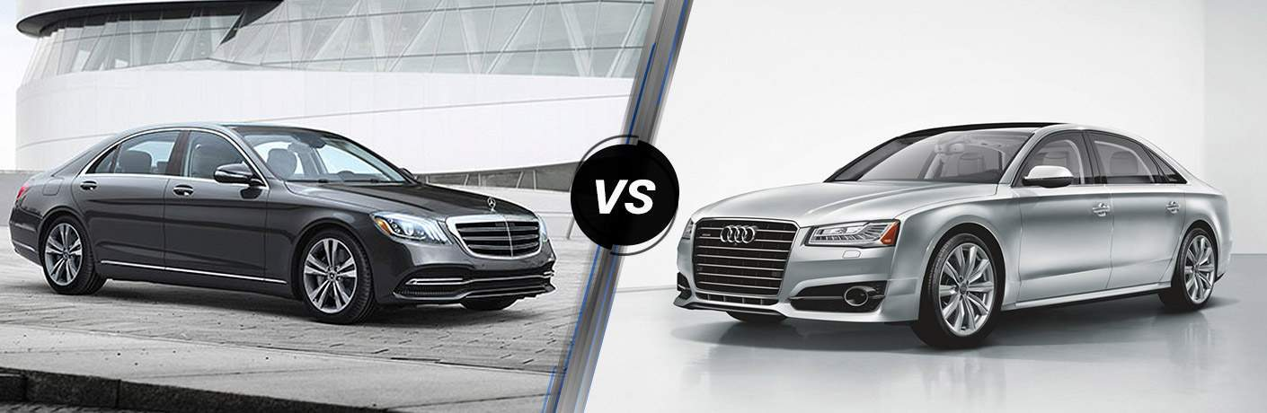 2018 Mercedes-Benz S-Class and 2018 Audi A8 in a comparison image