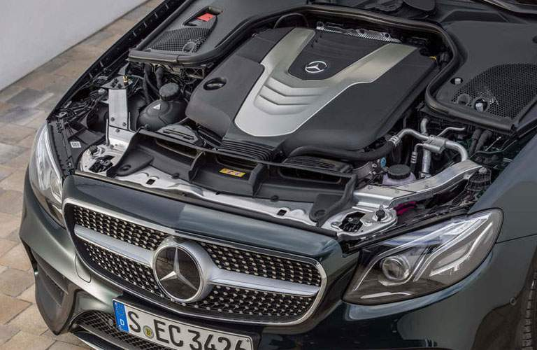 view of the engine in the 2018 Mercedes-Benz E-Class Coupe, seen with the hood open