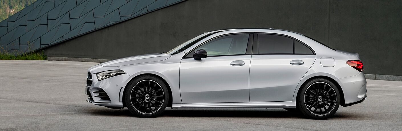 profile of 2019 mercedes-benz a-class parked on cement in Kansas City