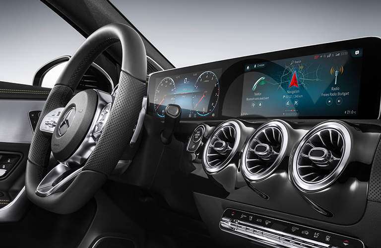 angled view of the Mercedes-Benz User Experience infotainment system in the 2019 Mercedes-Benz A-Class