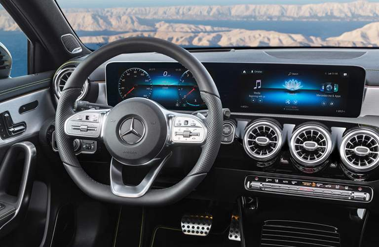 2019 Mercedes-Benz A-Class steering wheel and MBUX infotainment system