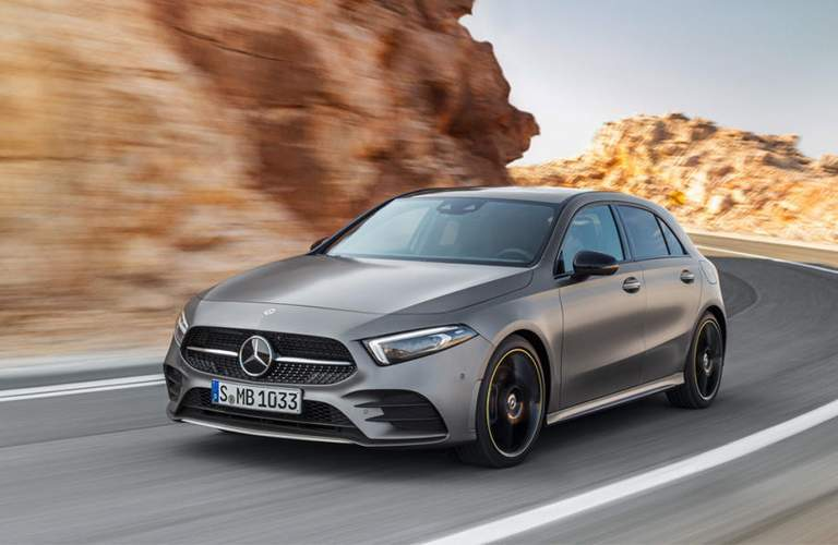 front view of a 2019 Mercedes-Benz A-Class on a curvy road