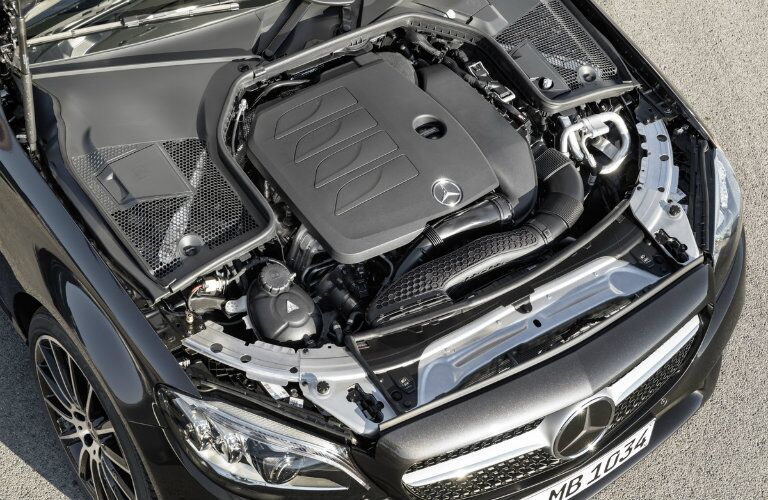 engine of the 2019 Mercedes-Benz C 300 in the front of the car