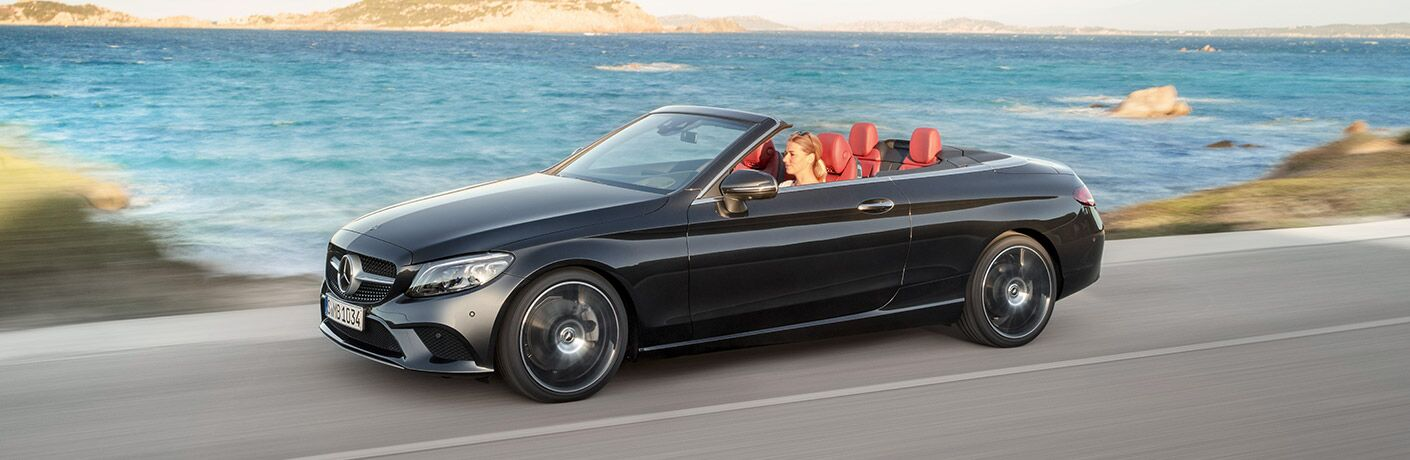 2019 Mercedes-Benz C-Class cabriolet driving with the top down