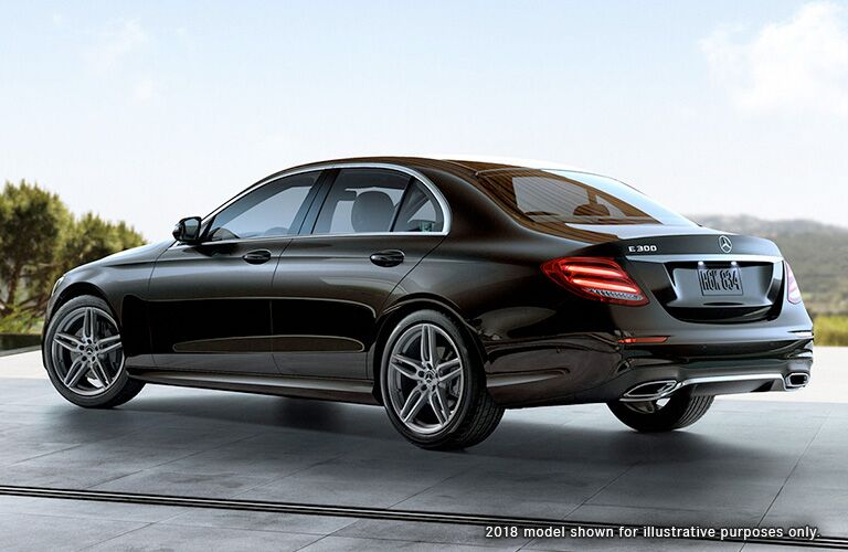 side view of the 2019 Mercedes-Benz E 300 in black
