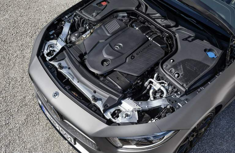 3.0-liter engine of the 2019 Mercedes-Benz CLS in the car with the hood up