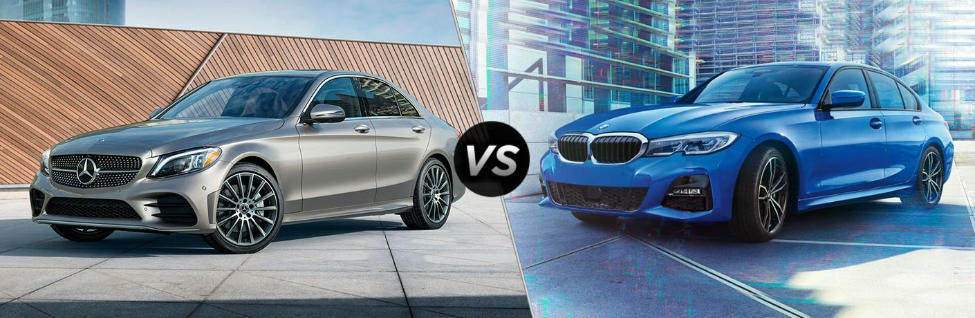split screen comparison showing difference between mercedes-benz c-class and bmw 3 series