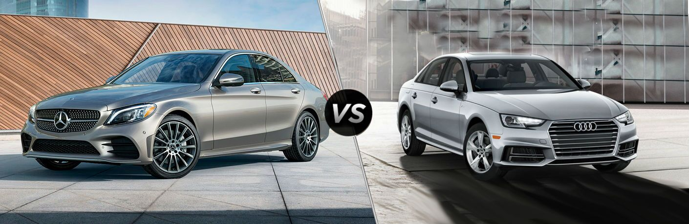 split screen image comparing mercedes-benz c-class to audi a4