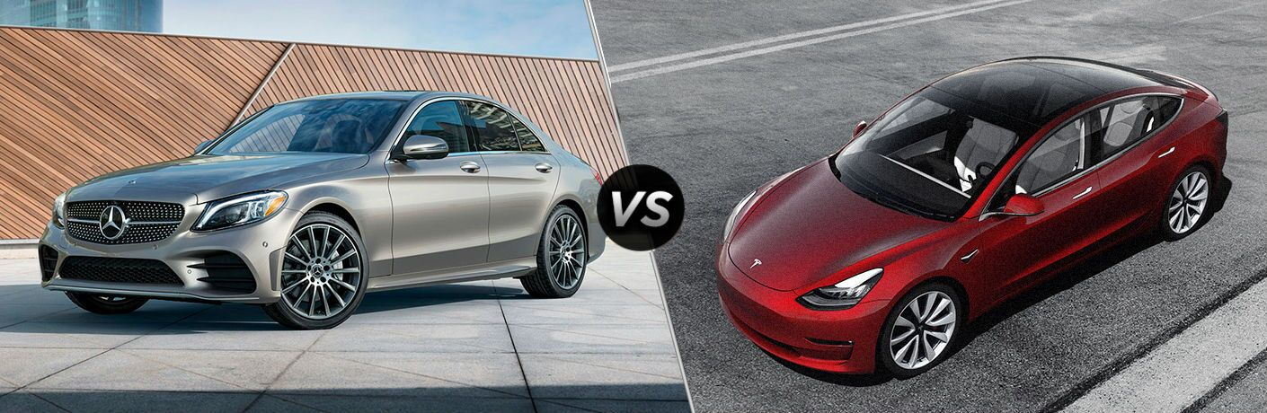split screen comparison between 2019 Mercedes-Benz C-Class Vs. Tesla Model 3