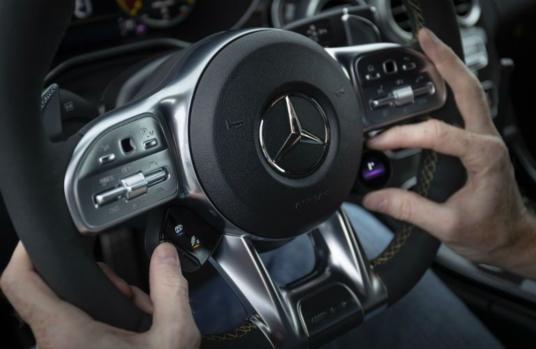 close up on steering wheel in 2019 mercedes-benz c-class