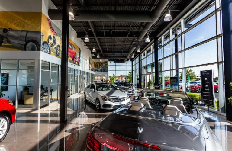 elegant, enclosed showroom at Mercedes-Benz of Kansas City