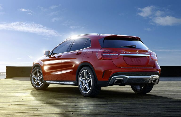 red 2017 Mercedes-Benz GLA 250 from the rear
