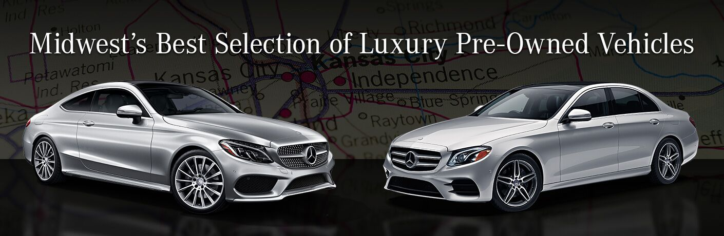 "two Mercedes-Benz vehicles with the title ""Midwest's Best Selection of Luxury Pre-Owned Vehicles"""