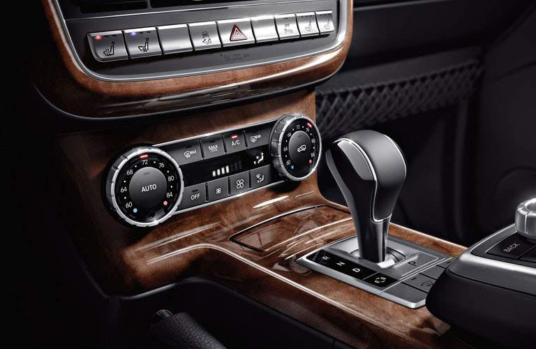 interior controls and gear shifters inside the 2018 Mercedes-Benz G-Class